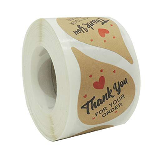 500 pegatinas de agradecimiento para tu pedido, hechas a mano, para hornear, negocios, embalaje, etiquetas, álbumes de recortes, papelería, pegatinas