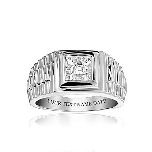 Personalized Mens Geometric CZ Grooved Band Style Engagement Ring Pinky Ring For Men 925 Sterling Silver Custom Engraved