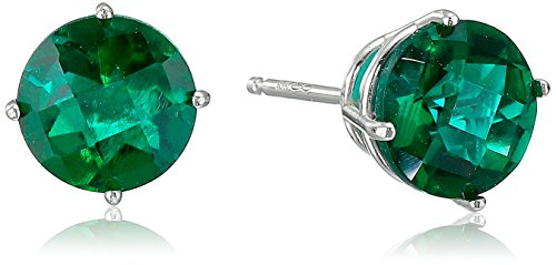 10k White Gold Round Checkerboard Cut Created Emerald Stud Earrings...