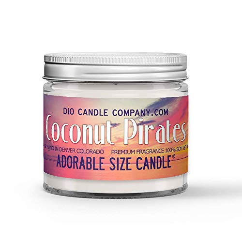 Coconut Pirates Candle - Coconut and Sea Water Scented - Made with 100% Vegan Soy Wax and Premium Fragrance - Available in 3 Adorable Sizes and Wax Tart