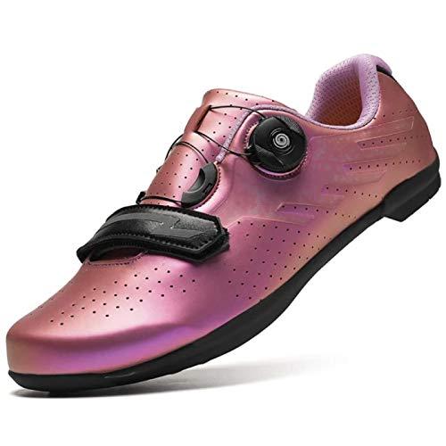 JINFAN Road Cycling Shoes,Men's Bicycle Shoes,Lightweight Wear Resistant Bike Footwear Road Bike Shoes Mountain Bike Shoe,Pink-36EU