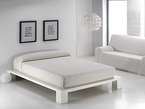 HIPERMANTA Colcha Foulard Multiusos Cuadros para sofá y para Cama, Algodón-Poliéster, 125x180 cms. Beige