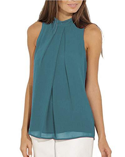 Mujer Sin Mangas Camisas Elegantes Gasa Blusas Casual Camisetas Top Azul Eléctrico...