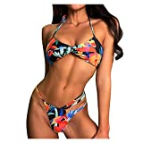 Bluelucon Mini Micro Bikini bañador Mujer 2021,Tanga Traje de baño Playa Sexy Beach Set Estampado Floral Bañador Mujer String Biquinis Feminino Swimsuit