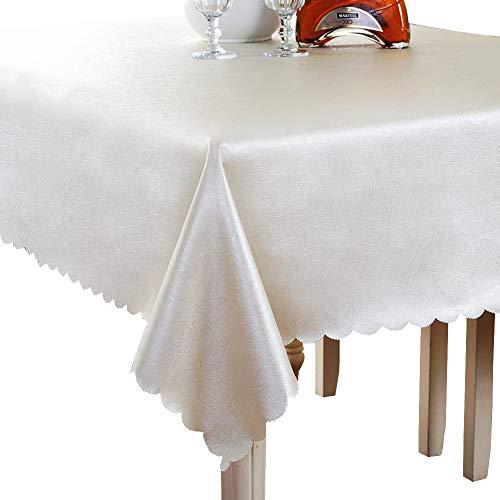 Imperméable, Nappes ronde résistante à l'huile Nappe rectangulaire Idéal pour table de buffet, Très jolie décoration pour, Repas de fête, Mariage & plus-blanc 140x140cm(55x55inch)