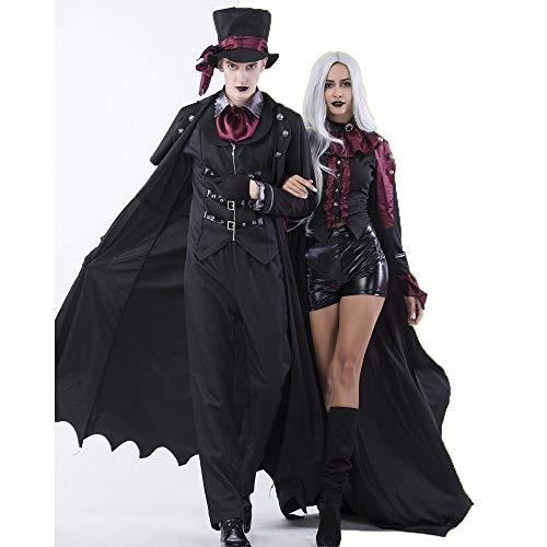 Shishiboss Costume di Halloween per Adulti, Coppia Corte Vampire Earl Set tra Cui Top/Pantaloni/Cappello/Guanti da Uomo, Completo per Halloween Party e Trucco Party a Tema,XL