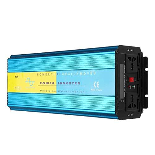 WLGQ Inversor de Corriente Onda sinusoidal Pura Inversor de Corriente de Onda sinusoidal Pura Pantalla LCD DC 12V / 24V a AC 110V / 220V 4000W (Voltaje:: 24V-110V)
