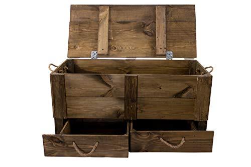 Kontorei 1x Große, dunkelbraue Holzkiste zur Aufbewahrung von Kleidung/kleinen Schätzen, Zwei Schubladen + Deckel, neu, 85 x 39 x 40 cm