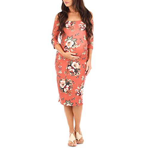 Floral Maternity Off the Shoulder Dress with 3/4 sleeve | Maternity Style #maternitydress