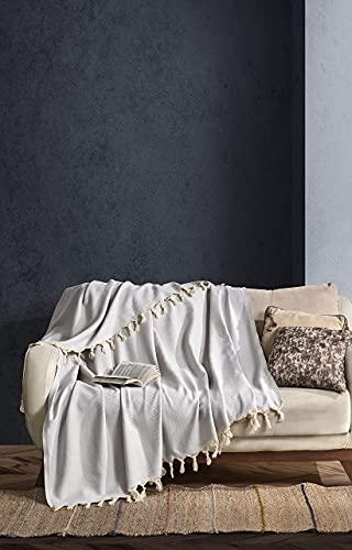 BOHORIA Premium Tagesdecke Tulum - Bettüberwurf Wohndecke Wendedecke Kuscheldecke Sofadecke mit Muster   extra-groß 170 x 230 cm (Cloud)