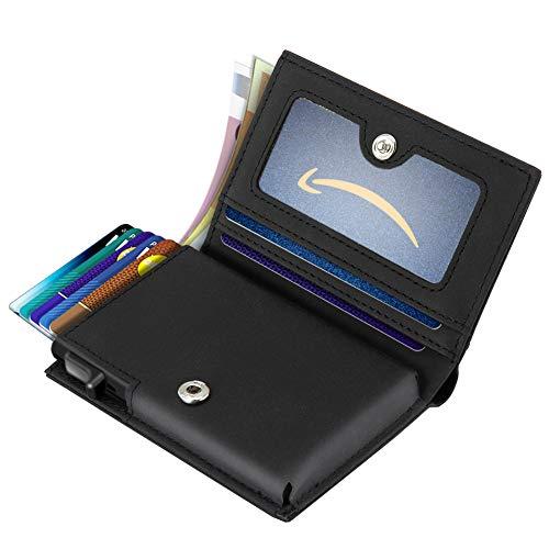 Cartera Mini: SAMKING cartera está hecha de aluminio y cuero de primera calidad. El cuero exterior ofrece comodidad para la mano y el bolsillo, y el interior de acero proporciona la máxima protección y privacidad para sus tarjetas (bloqueo RFID). Dis...