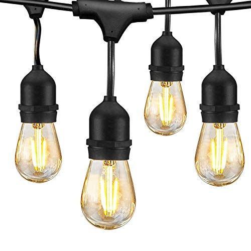LED Outdoor String Lights 48FT with 2W Dimmable Edison Vintage Shatterproof Bulbs Commercial Waterproof Strand Patio Lights - UL Listed Heavy-Duty Decorative LED Café Patio Light , Porch Market Light