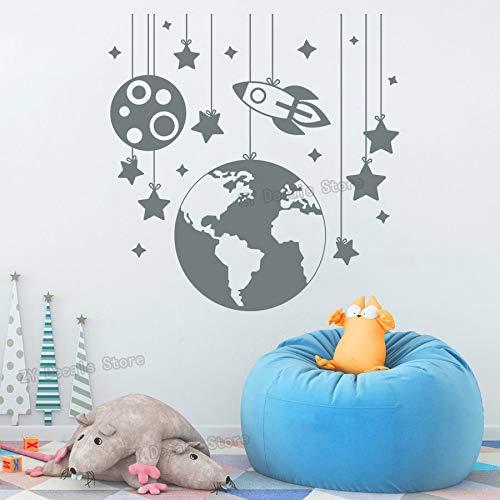 ganlanshu Planet wandaufkleber Rakete Aufkleber Schlafzimmer Kindergarten Dekoration Raumschiff wandaufkleber Vinyl Kind Junge Zimmer entfernbarer Aufkleber 79 cm x 75 cm