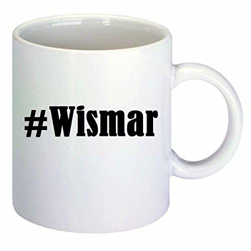 Kaffeetasse #Wismar Hashtag Raute Keramik Höhe 9,5cm ? 8cm in Weiß