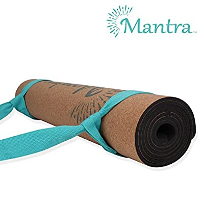 "Mantra Cork Yoga Mat - Best Yoga Mat for Non Slip Grip - Thick Yoga Mat with Yoga Mat Strap - 72"" x 24""x 5mm -100% Natural Cork Mat - Eco-Friendly Non-Toxic Natural Rubber Padding (Teal Strap)"