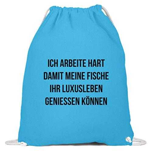 shirt-o-magic Zierfische: Ich arbeite für Fische - Baumwoll Gymsac -37cm-46cm-Himmel-Blau