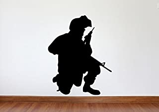 Maxx Graphixx Soldier Wall Decal - Soldier Military Silhouette Vinyl Decal - Soldier 6 (Black, 34