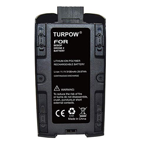 TURPOW 3100mAh 11.1V Replacement Battery Compatible with Parrot Bebop 2 Drone/Bebop 2 FPV/Parrot Bebop 2 SkyController with White & Red Stickers (1 Pack)