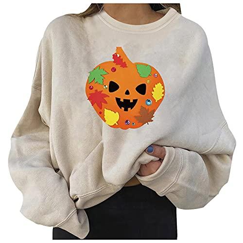 Sudaderas casuales de Halloween para mujer, manga larga, cuello redondo, para Halloween, blusa suelta, blanco, XL