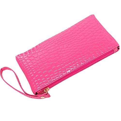 TAMALLU Bag Frauen Leder Clutch Casual Modische Handtasche Tasche Geldbörse(Pink)