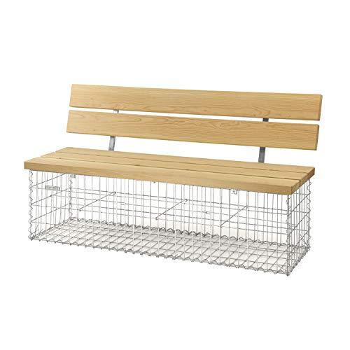 bellissa Gabionenbank Calma - 97156 - Gabionen-Gartenbank mit Lehne - Garten-Bank mit Sitzfläche aus Douglasien-Holz - 155 x 40 x 44/83 cm