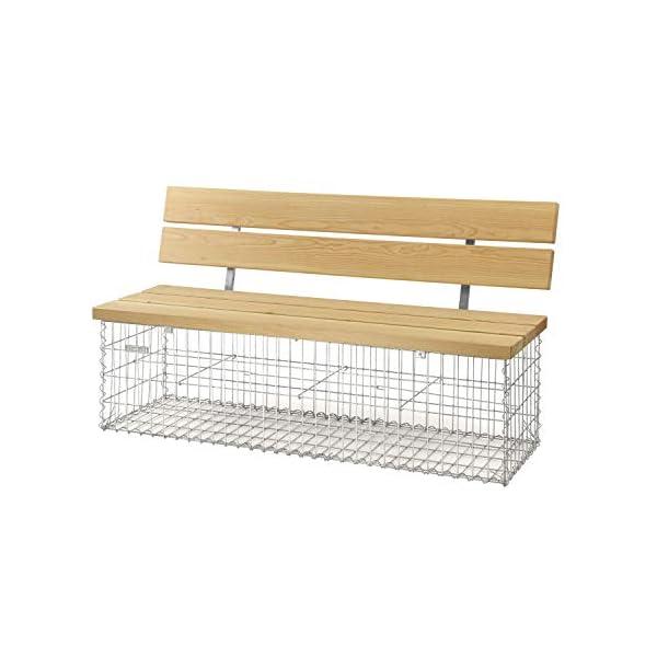 bellissa Gabionenbank Calma - 97156 - Gabionen-Gartenbank mit Lehne - Garten-Bank mit Sitzfläche aus Douglasien-Holz…