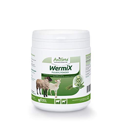 AniForte WermiX Pulver für Schafe & Ziegen - Naturprodukt vor, während und nach Wurmbefall mit Saponine, Bitterstoffe, Gerbstoffe, Wermut, Naturkräuter harmonisieren Magen & Darm (200g)