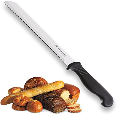 Taylors Eye Witness Sheffield Made Serrated Bread Knife - Professional 18cm Cutting Edge With A Scalloped, Ultra Fine Blade, Precision Ground From Razor Steel. Fibre Grip Handle. Lifetime Guarantee. (17.5cm Bread Knife)