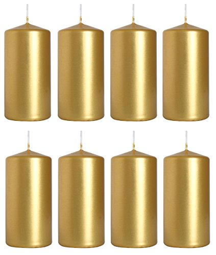 Pillar Candles, size 5 cm/10 cm, pack of 8, (Gold)