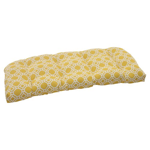 Pillow Perfect Outdoor/Indoor Rossmere Sunshine Tufted Loveseat Cushion, 44' x 19', Yellow