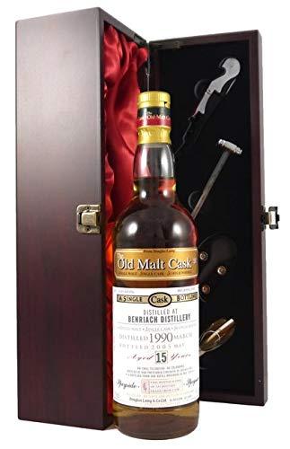 Benriach 15 Year Old Single Malt Whisky 1990 Old Malt Cask Bottling in einer mit Seide ausgestatetten Geschenkbox, da zu 4 Wein Accessoires, 1 x 700ml