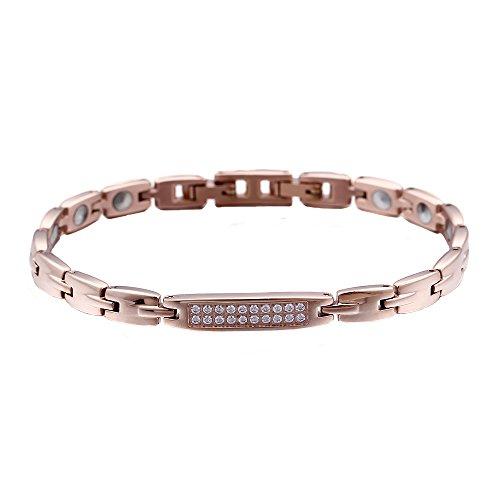 LALOPEZ - Pulsera de acero de titanio con incrustaciones de oro rosa para mujer