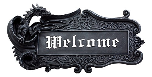 Ebros Mythical Fantasy Celtic Dragon Welcome Sign Gothic Wall Decor Faux Stone Resin Sculptural Display Wall Plaque