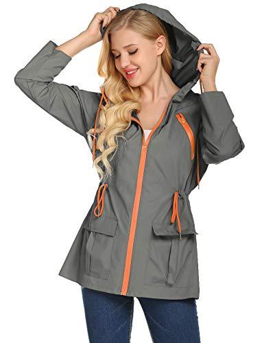 Rain Jacket Women Hooded Lightweight Softshell Hiking Waterproof Coat(Gray-S)