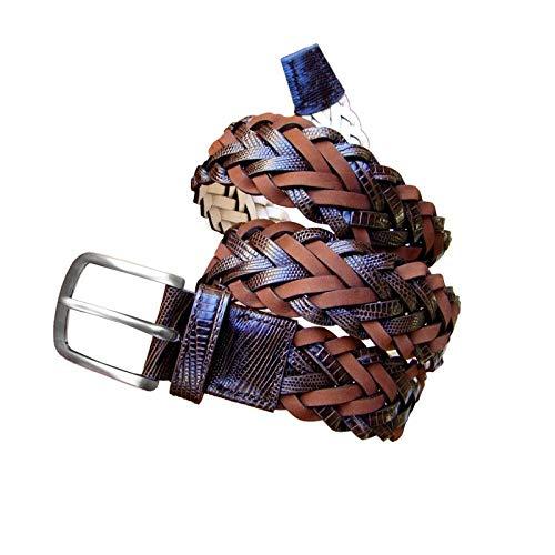 Leyva - Cinturón trenzado de hombre de piel en color marrón (100...