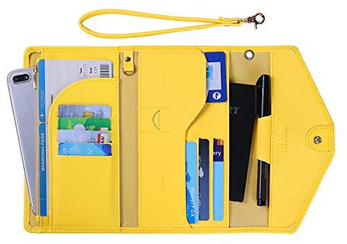 Zoppen Passport Holder Travel Wallet (Ver.5) for Women Rfid Blocking Multi-purpose Passport Cover Document Organizer Strap, Primrose Yellow