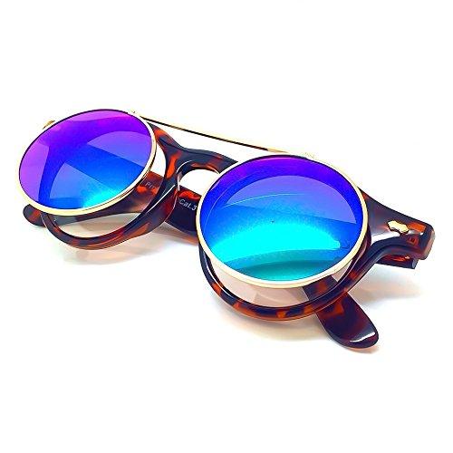 KISS Gafas de sol estilo MOSCOT mod. FLIP-UP - Lente Doble STEAMPUNK hombre mujer VINTAGE redondo - LA HABANA/Marrón