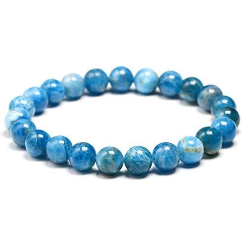 Pulsera de cuentas de piedra de apatita azul océano natural, pulsera de cuentas de gemas redondas de meditación para hombres y mujeres, regalo 6 MM 8 MM 10 MM, cuentas de 8 mm, 19 cm 7,5 pulgadas