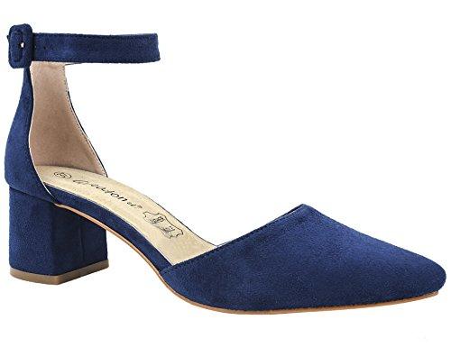Greatonu Zapatos de Tacón Ancho con Tiras Traseras Mujer