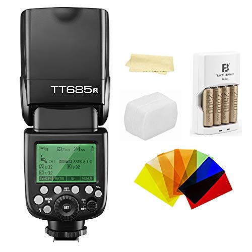 Godox Thinklite TT685N TTL I-TTL 2.4GHz GN60 High Speed Sync 1/8000s Wireless Master Slave Camera Flash Speedlite Speedlight compatible For Nikon Cameras+44AA batteries&Charger