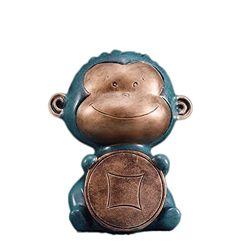 XHAEJ Piggy Banks for Kids Money Safe, Chinese Monkey Modeling Resin Hucha Banco Grande Moneda Piggy Bank Decoración Regalo Creativo Piggy Banks