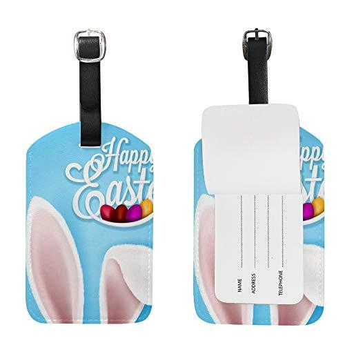 CHEHONG - Etichette per bagagli da viaggio per Pasqua, coniglio cioccolato, uova di cioccolato, colore blu, in pelle sintetica, con nome e carta d'identità, borsa da viaggio da 4,8 x 2,8 cm 2 2 pezzi