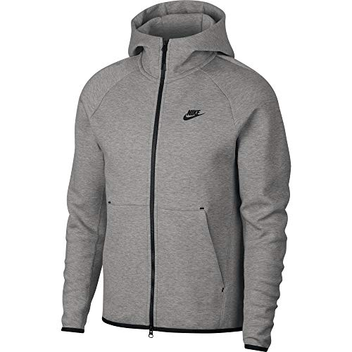 Nike Herren M NSW TCH FLC Hoodie FZ Sweatshirt, dk Grey Heather/Black/(Black), XL