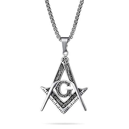 Bling Jewelry Black Oxidized Large Freemason Secret Society Square & Compass Masonic Symbol Pendant Necklace for Men Silver Tone Stainless Steel with Bead Chain