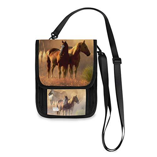 XiangHeFu Shopping Phone Bag Card Holder 4 caballos al atardecer en el desierto Monedero de gran capacidad Monedero Estuche