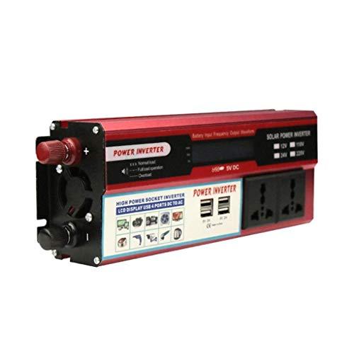 Inversor de corriente 2000W para automóvil, CC 12/24v a 230V 240V Convertidor automotriz Cargador de teléfono móvil de 4usb, enchufe universal, pantalla LED, para uso en el hogar de camiones RV