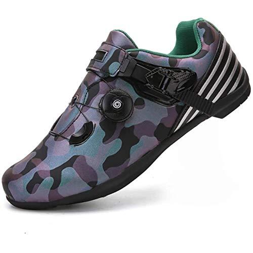 WDZJM Zapatillas de Ciclismo, Zapatillas de Ciclismo de Ocio Transpirables Profesionales para Hombres, Botas de Ciclismo con protección anticaídas, Suela de Goma (Color : A, Size : 45)