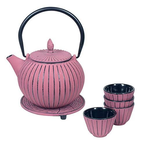 Vidal Regalos Set Tetera con 4 Vasos y Sobremantel Hierro Fundido Rosa Oriental Etnico 15 cm