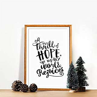 Minitowz Christmas Quote Poster, A Thrill of Hope The Weary World rejoices, Christmas Printable Quotes, Christmas, Home Decor, Gifts