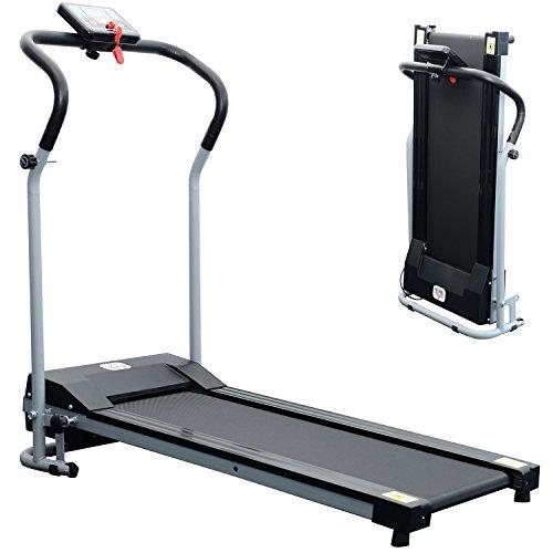 HOMCOM Tapis de Course Fitness électrique Pliable - 1 à 10 Km/h - écran LCD Multifonctions - Puissance 500 W - Gris Clair Noir